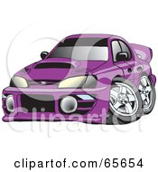 Royalty Free RF Clipart Illustration Of A Purple Subaru Impreza WRX by Dennis Holmes Designs