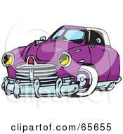 Royalty Free RF Clipart Illustration Of A Purple Hot Rod Car by Dennis Holmes Designs