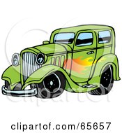 Royalty Free RF Clipart Illustration Of A Green Hot Rod With A Flame Paint Job