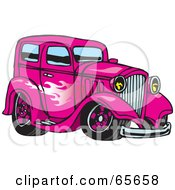 Royalty Free RF Clipart Illustration Of A Pink Hot Rod With A Flame Paint Job