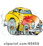 Royalty Free RF Clipart Illustration Of A Yellow Holden FJ Hot Rod With A Flame Paint Job by Dennis Holmes Designs