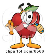 Red Apple Character Mascot Peeking Through A Magnifying Glass Clipart Picture by Toons4Biz