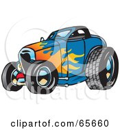 Royalty Free RF Clipart Illustration Of A Blue Hot Rod With A Flame Paint Job by Dennis Holmes Designs