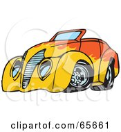 Royalty Free RF Clipart Illustration Of An Orange Convertible Hot Rod With A Flame Paint Job by Dennis Holmes Designs