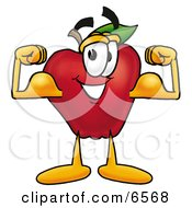 Red Apple Character Mascot Flexing His Arm Bicep Muscles Clipart Picture by Toons4Biz