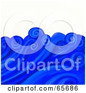 Royalty Free RF Clipart Illustration Of A Background Of Swirly Blue Waves Over White by Prawny
