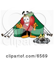 Red Apple Character Mascot Camping With A Tent And A Fire Clipart Picture