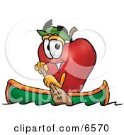 Red Apple Character Mascot Rowing A Boat