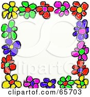 Royalty Free RF Clipart Illustration Of A Background Of Colorful Flowers Around White