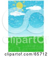 Royalty Free RF Clipart Illustration Of A Background Of The Sun And Clouds Over A Green Meadow