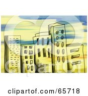Royalty Free RF Clipart Illustration Of A Background Of Grungy City Buildings With Paint Strokes by Prawny
