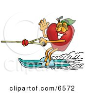 Red Apple Character Mascot Waving And Water Skiing Clipart Picture