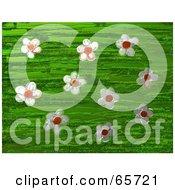 Royalty Free RF Clipart Illustration Of A Background Of Daisy Flowers Over Green by Prawny