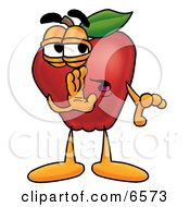 Red Apple Character Mascot Whispering Secrets Clipart Picture by Toons4Biz