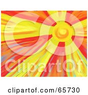 Royalty Free RF Clipart Illustration Of A Background Of The Bright Sun In A Red Sky by Prawny