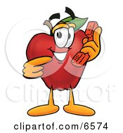 Red Apple Character Mascot Talking On A Telephone Clipart Picture by Toons4Biz