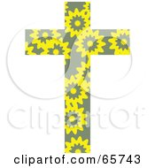 Royalty Free RF Clipart Illustration Of A Yellow Flower Patterned Cross