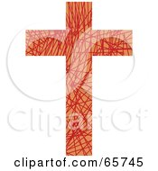 Orange Patterned Cross With Scratches