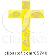 Royalty Free RF Clipart Illustration Of A Yellow Patterned Cross With Circles