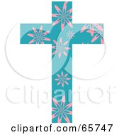 Royalty Free RF Clipart Illustration Of A Teal Patterned Cross With Flowers
