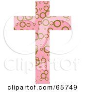 Pink Patterned Cross With Circles