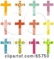 Digital Collage Of Twelve Patterned Christian Crosses