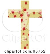 Royalty Free RF Clipart Illustration Of A Tan Patterned Cross With Spirals