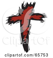 Stylized Red And Black Christian Cross