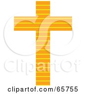 Orange Patterned Cross With Stripes