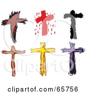 Digital Collage Of Six Stylized Christian Crosses