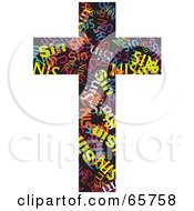 Royalty Free RF Clipart Illustration Of A Black Cross With Colorful Sin Words