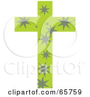Royalty Free RF Clipart Illustration Of A Green Patterned Cross With Stars