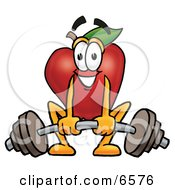 Red Apple Character Mascot Lifting A Heavy Barbell Clipart Picture by Toons4Biz