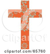 Royalty Free RF Clipart Illustration Of An Orange Patterned Cross With Flowers