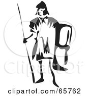 Royalty Free RF Clipart Illustration Of A Black And White Roman Soldier by Prawny
