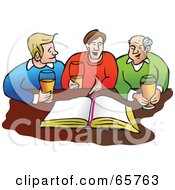 Royalty Free RF Clipart Illustration Of Three Men Drinking Beer In Front Of A Bible