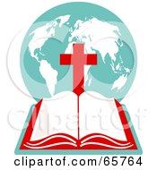 Royalty Free RF Clipart Illustration Of An Open Holy Bible With A Globe And Red Cross by Prawny