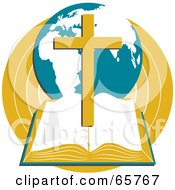 Royalty Free RF Clipart Illustration Of An Open Holy Bible With A Globe And Cross by Prawny #COLLC65767-0089