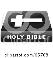 Royalty Free RF Clipart Illustration Of A Black Ad White Holy Bible Book
