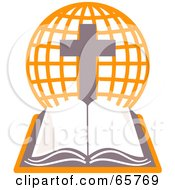 Royalty Free RF Clipart Illustration Of An Open Holy Bible With An Orange Globe And Cross