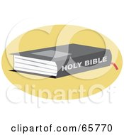Royalty Free RF Clipart Illustration Of A Holy Bible On A Yellow Circle by Prawny