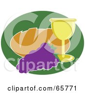 Royalty Free RF Clipart Illustration Of A Loaf Of Bread With Grapes And Wine