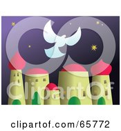 Royalty Free RF Clipart Illustration Of A Peace Dove Flying Over A Holy City At Night by Prawny