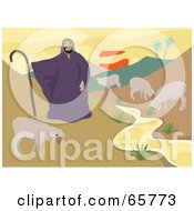 Royalty Free RF Clipart Illustration Of A Male Shepherd Standing By A Creek With His Flock