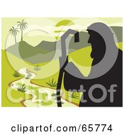 Royalty Free RF Clipart Illustration Of A Silhouetted Shepherd Looking Out Over A Creek And Green Land