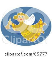Royalty Free RF Clipart Illustration Of A Pretty Angel In Yellow Flying Over A Blue Oval