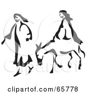 Royalty Free RF Clipart Illustration Of Mary And Joseph With A Mule