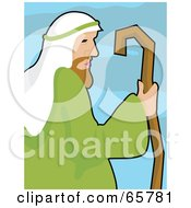 Royalty Free RF Clipart Illustration Of A Profiled Shepherd Holding His Cane
