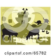 Royalty Free RF Clipart Illustration Of Grazing Animals Near Noahs Ark Green Tones