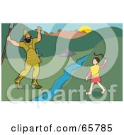 Royalty Free RF Clipart Illustration Of David And Goliath